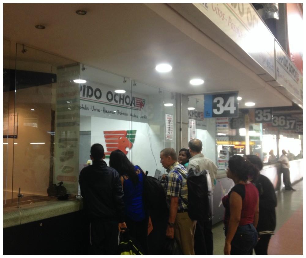 Ticket counter in the Terminal del Sur, Medellin