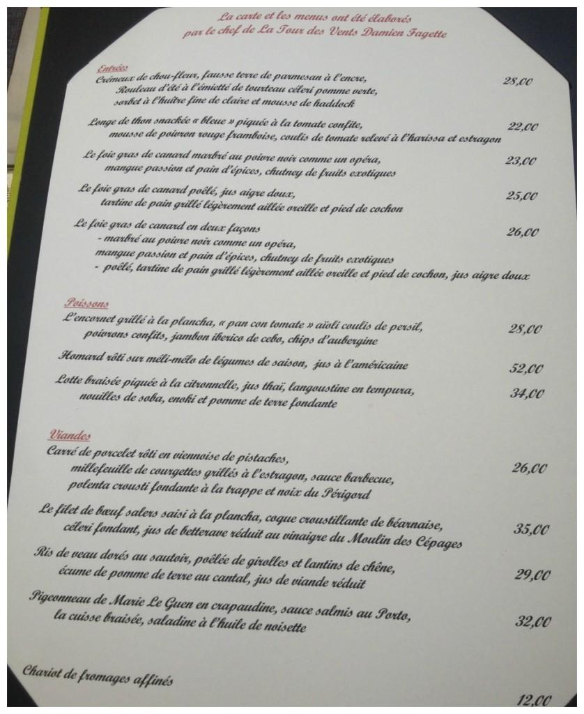 La Tour des Vents menu