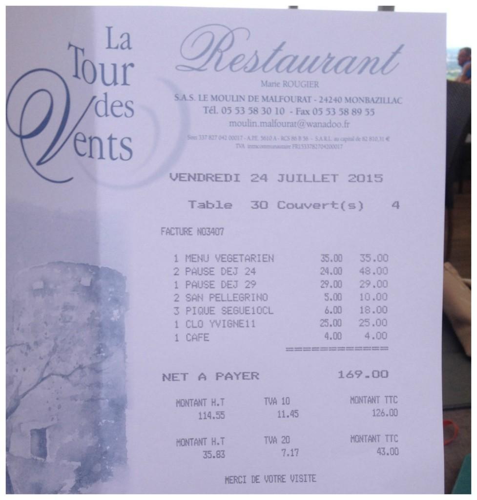 La Tour des Vents restaurant lunchtime bill