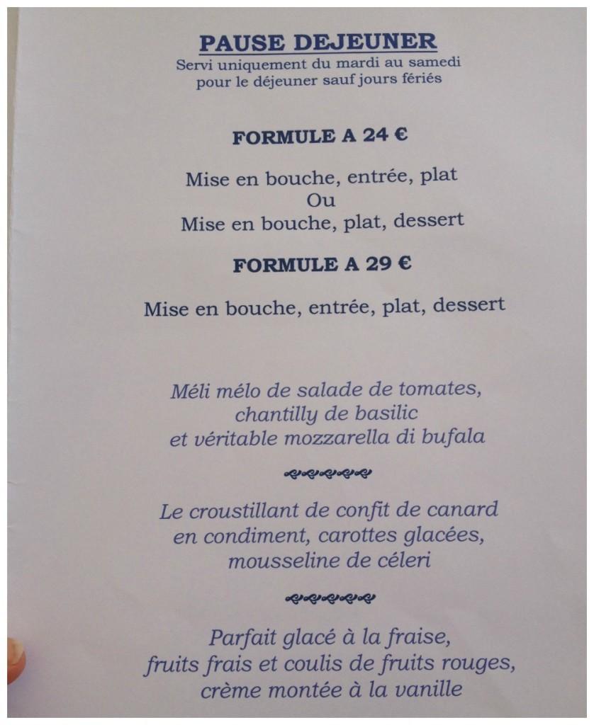 Lunch set menu at La Tour des Vents