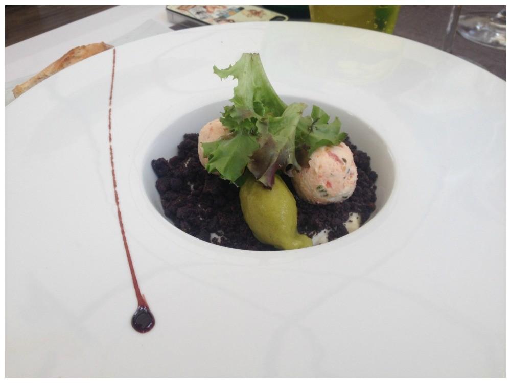 Vegetarian entree at La Tour des Vents Monbazillac