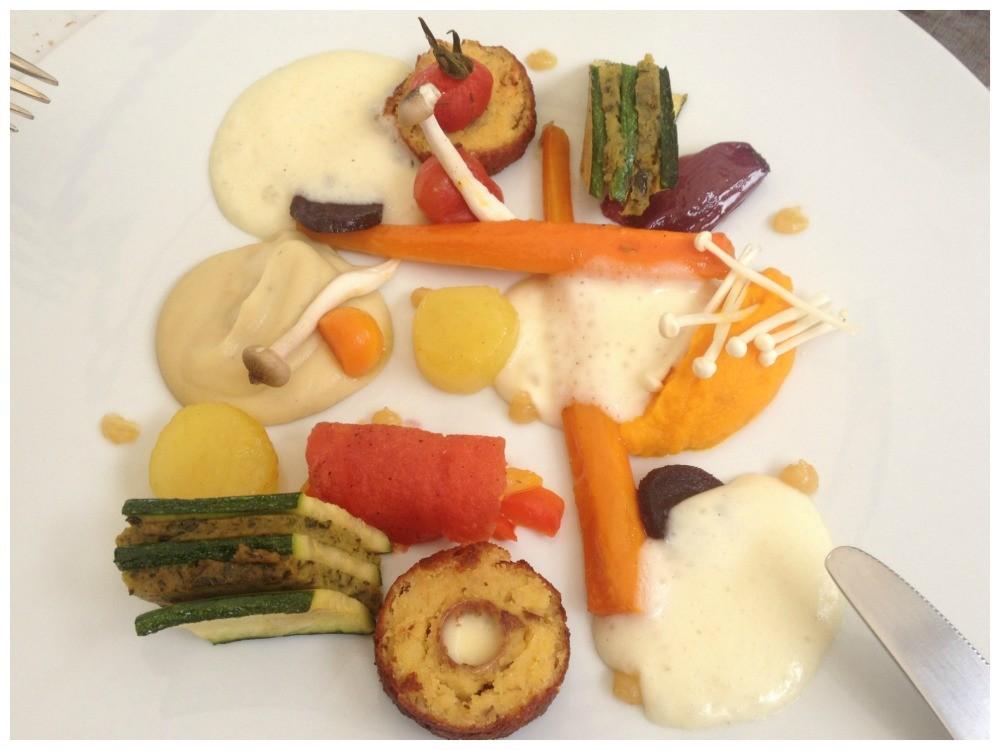 Vegetarian main course at La Tour des Vents