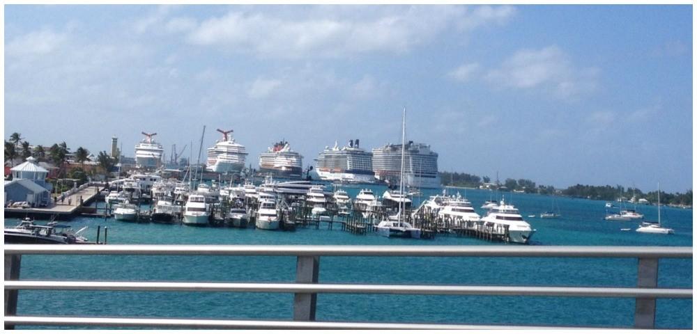 Five cruise ships in Nassau
