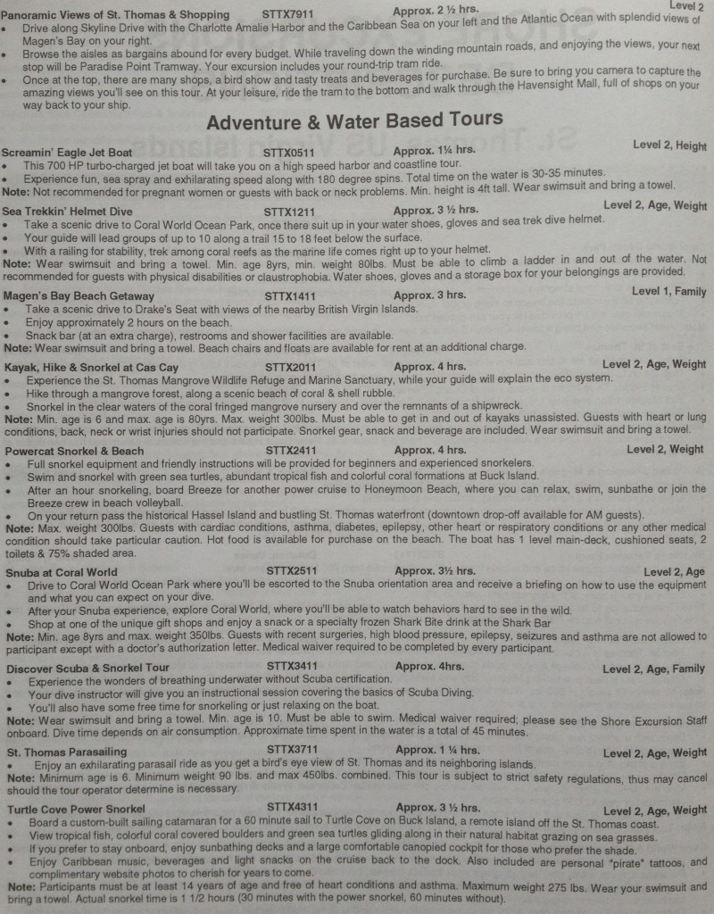 detailed tour descriptions for St. Thomas