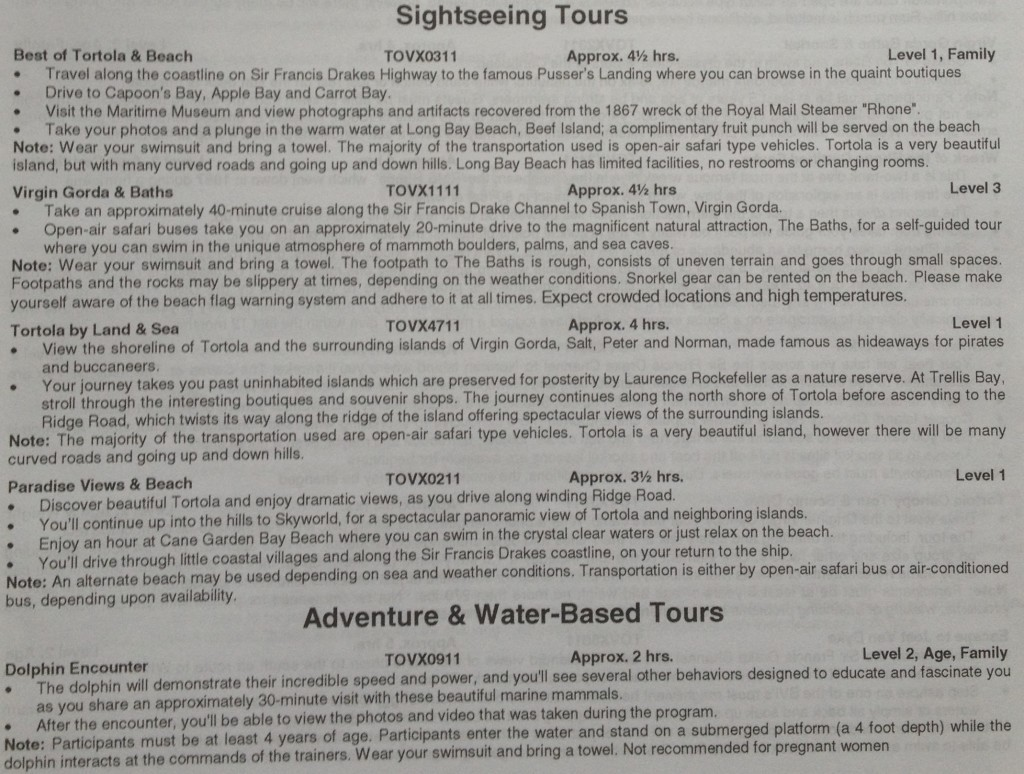 detailed tour descriptions for Tortola