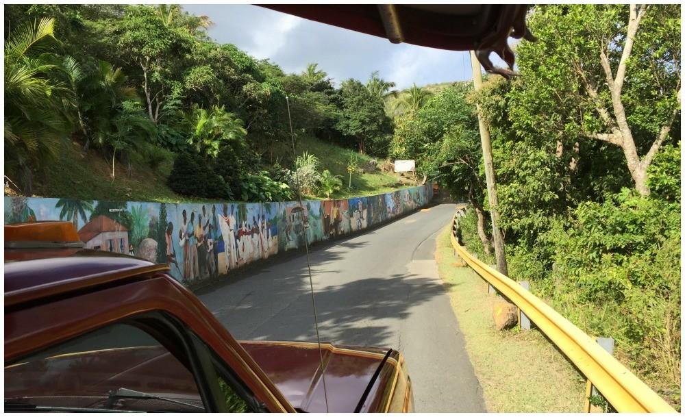 Mural along a wall in lush Tortola island