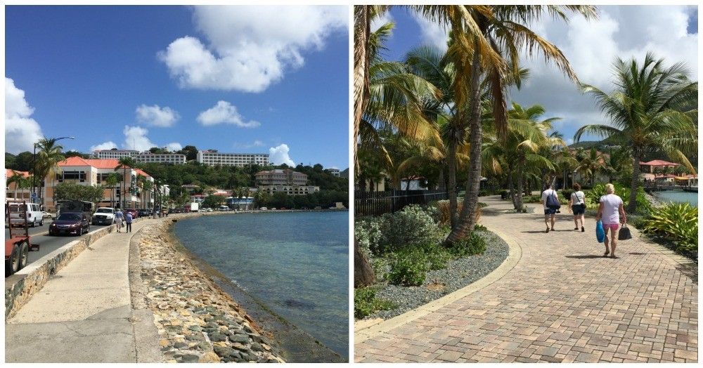 Walking to and from the ship to Charlotte Amalie