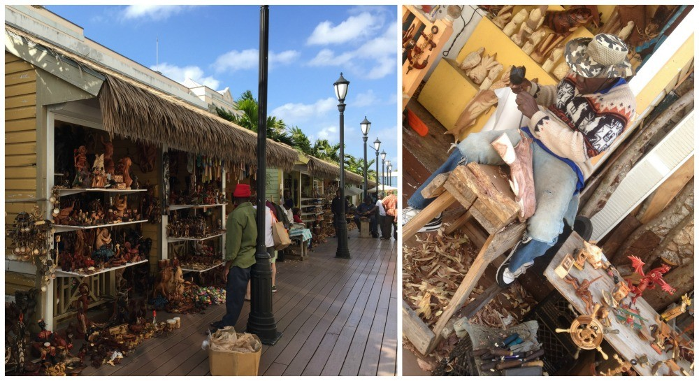 Wooden hand crafted items at the Straw market in Nassau