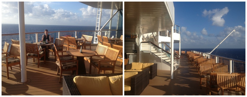 Alone at the very back of the Celebrity Eclipse enjoying dinner