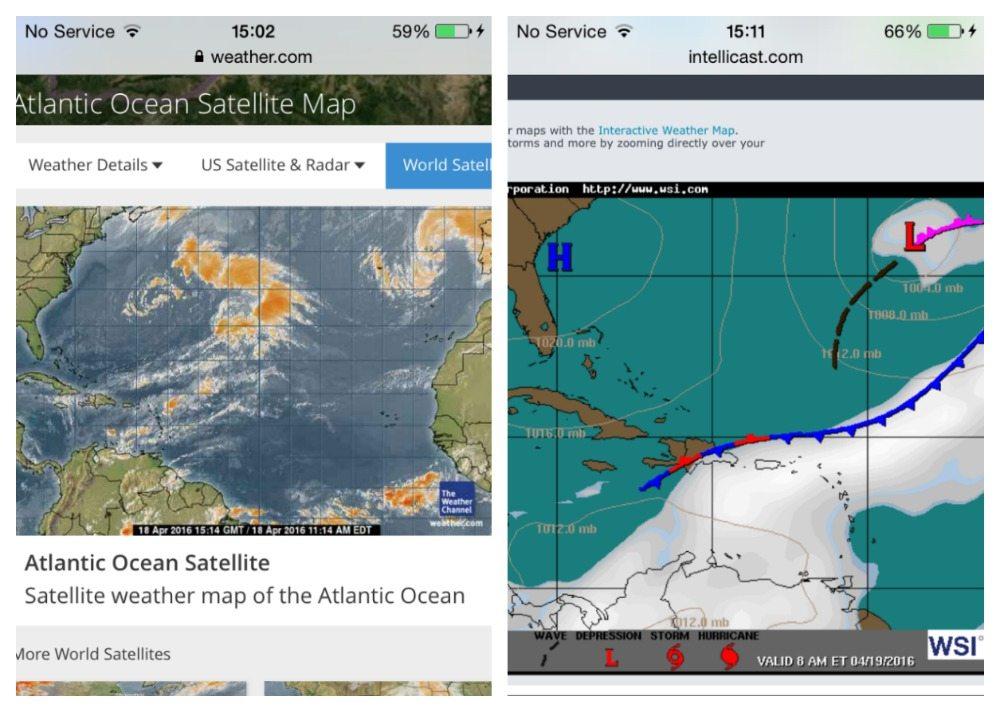 Bad weather near Bermuda