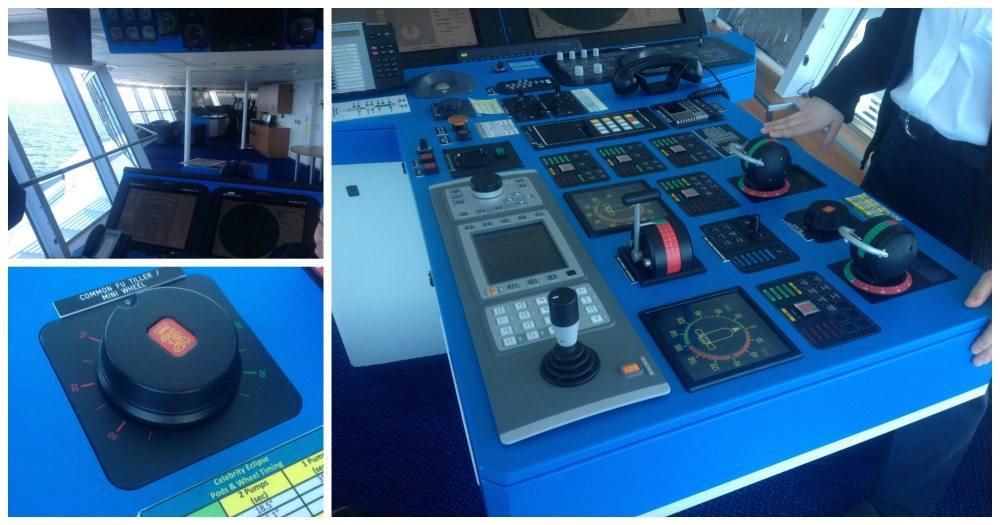 Bridge console panel that controls the Celebrity Eclipse