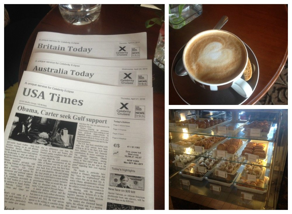 Coffee, pastries and the mini newspapers o Celebrity Eclipse