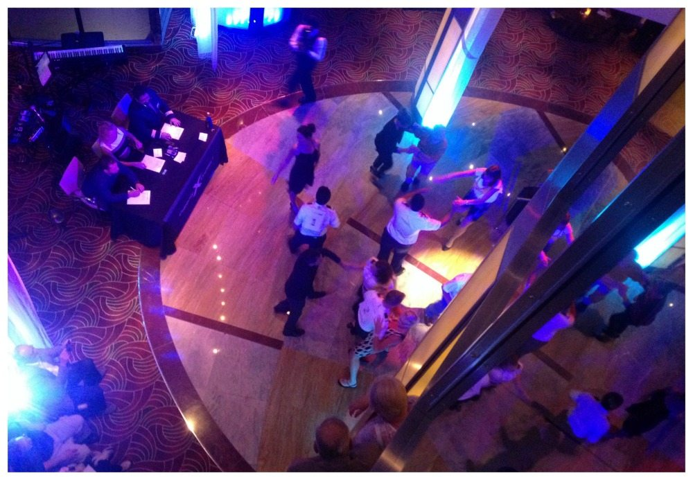 Dancing with the officers in the Lobby