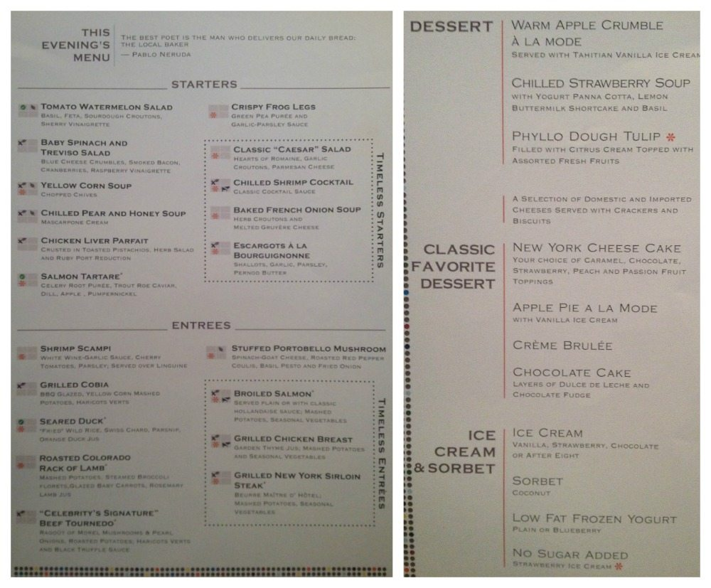Dinner menu in Moonlight Sonata restaurant 19.4.16 Celebrity Eclipse