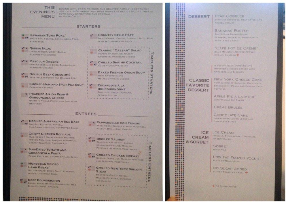 Dinner menu on Celebrity Eclipse Moonlight Sonata dining room