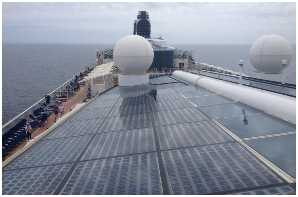 Looking back over the solar panels from the Solstice deck