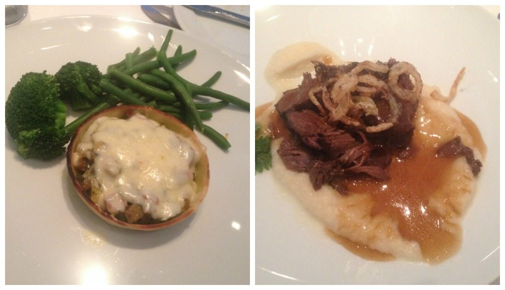 Main course selection from the Top Chef menu