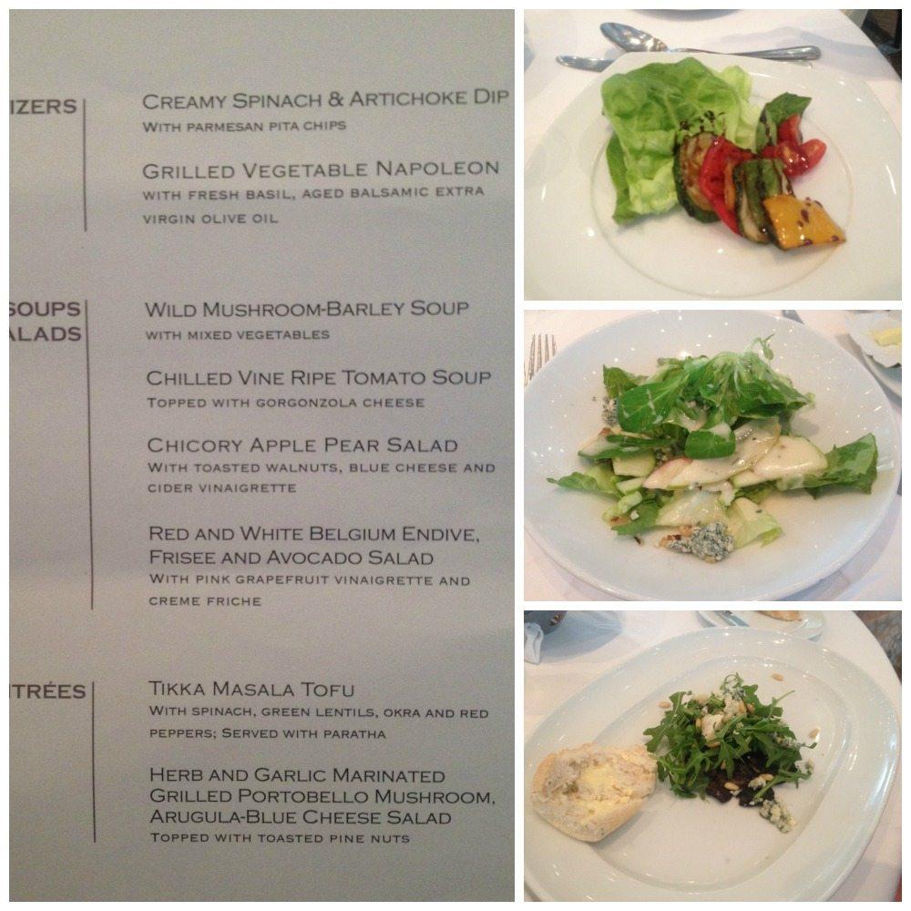 Main dining room vegetarian menu on Celebrity Eclipse