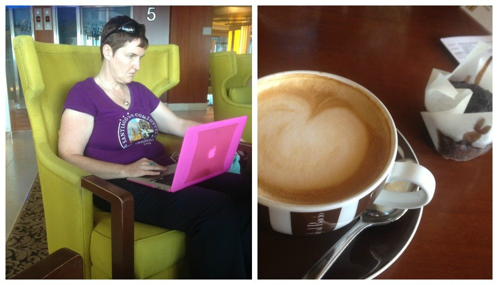 Moni catching up on some work in her favourite place with a coffee