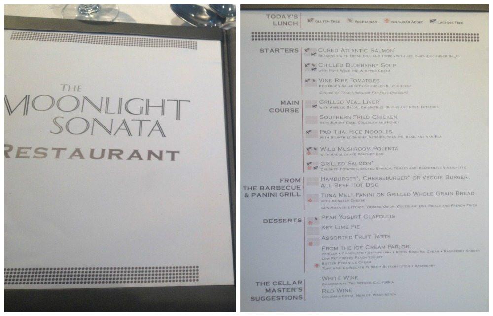 Moonlight Sonata Lunch menu
