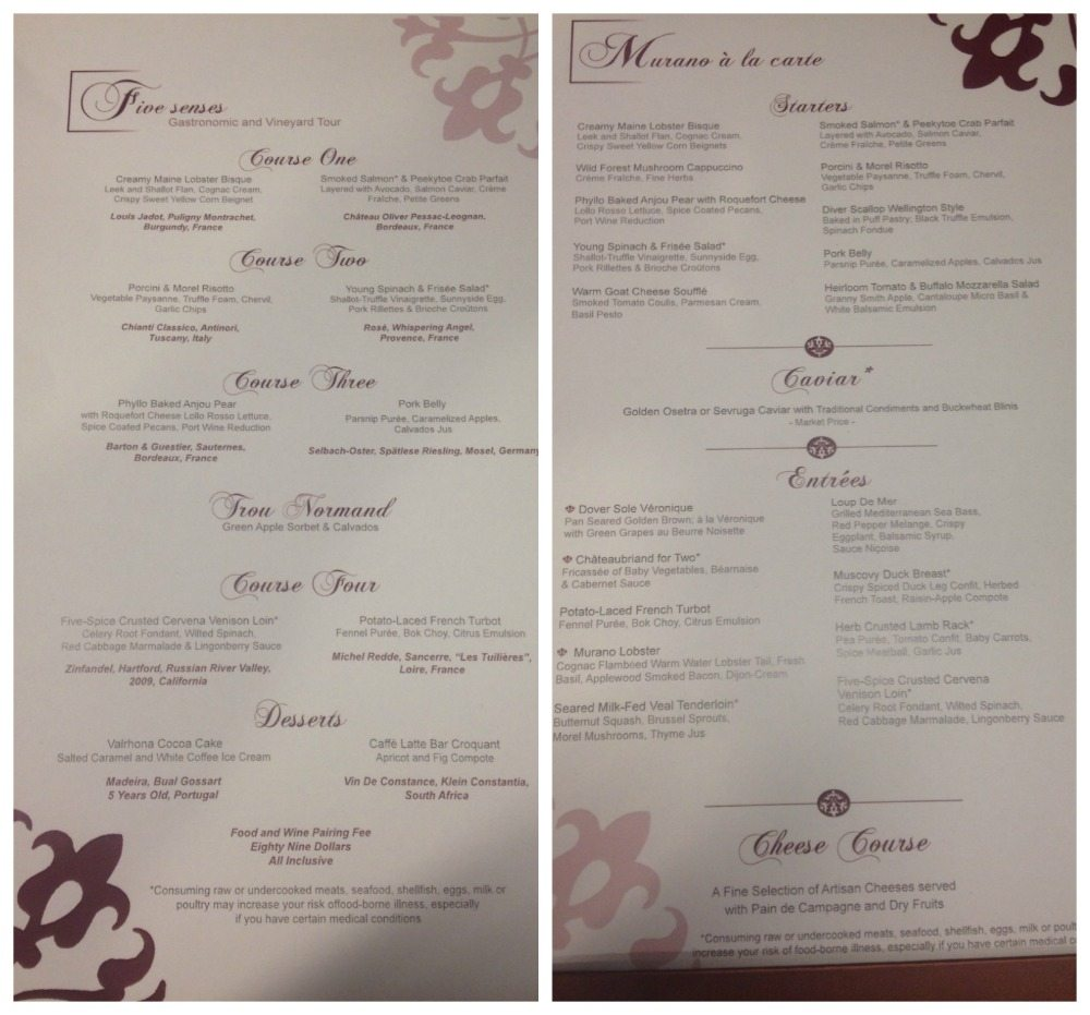 Murano menu on Celebrity Eclipse