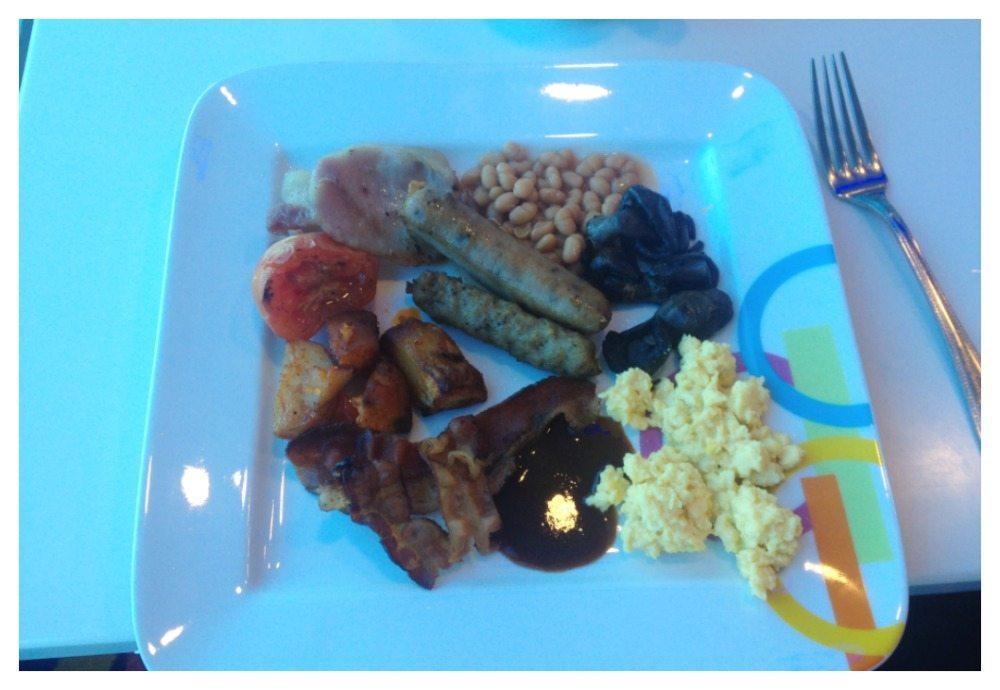 My plate of hot breakfast