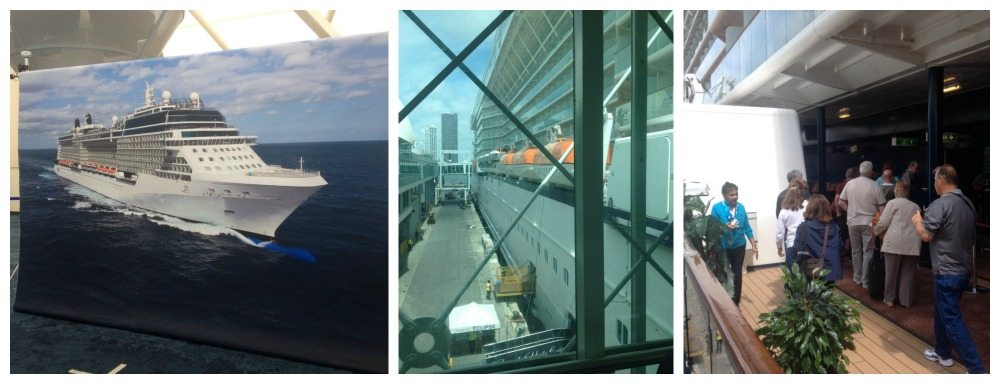 Photos in front of the ship screen, up the gangway and on we step
