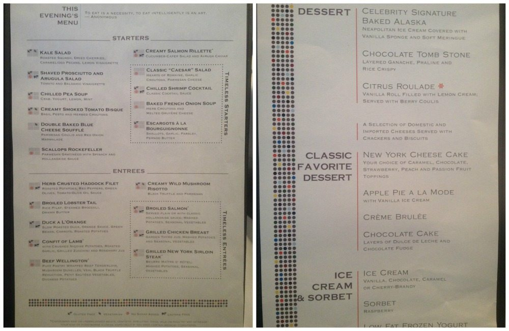 Second formal night menu in the dining room on Celebrity Eclipse
