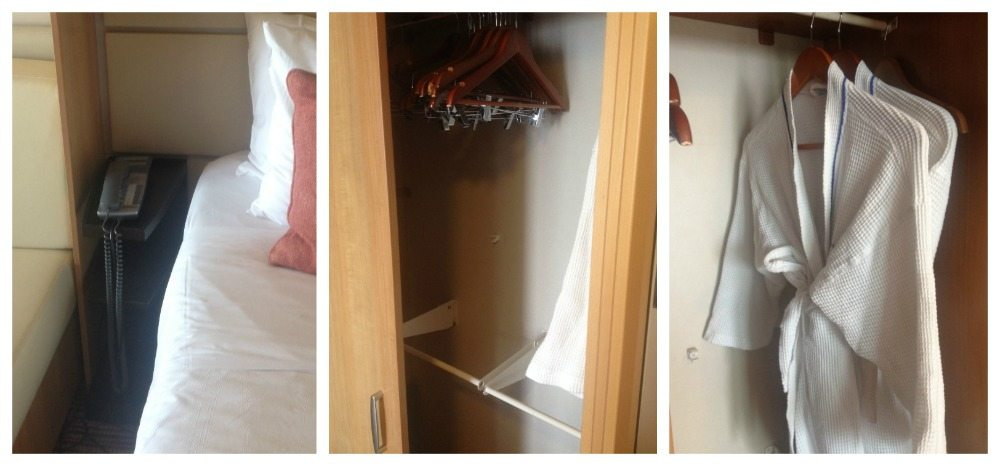 Small bedside table, plenty of clothes hangers and bathrobes
