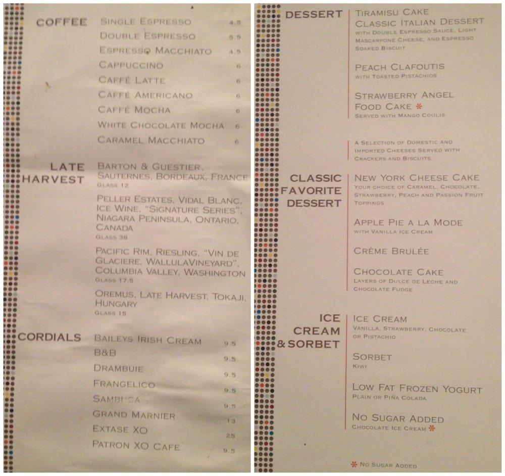Moonlight Sonata restaurant dessert menu 18.4.16