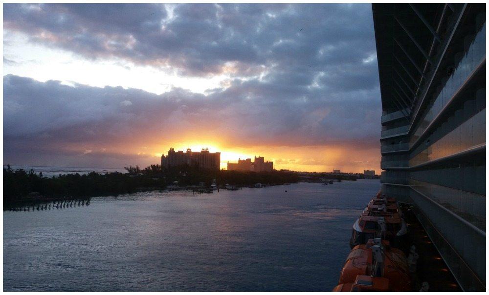 Sunrise behind Atlantis resort in Nassau
