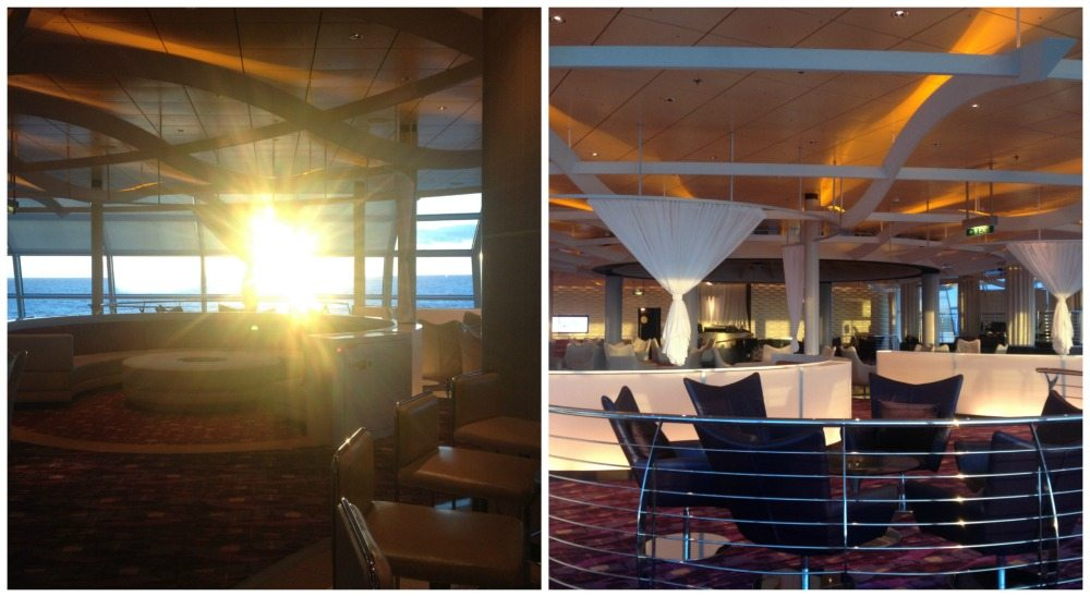 The sun shining into the Sky Lounge on Celebrity Eclipse
