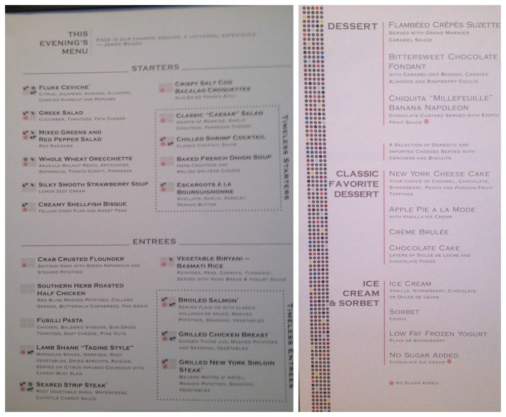 Tonight's menu in the dining room on Celebrity Eclipse