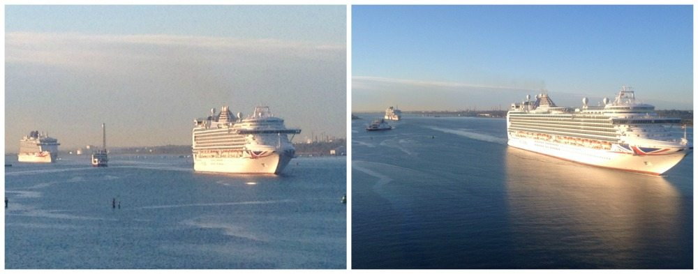 Two P&O ships dwarf the Red Funnel IOW ferry arriving in Southampton