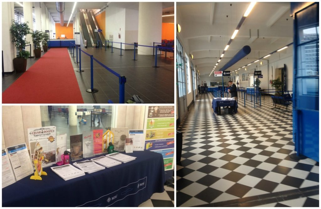 Check-in and waiting area at the Genoa cruise terminal