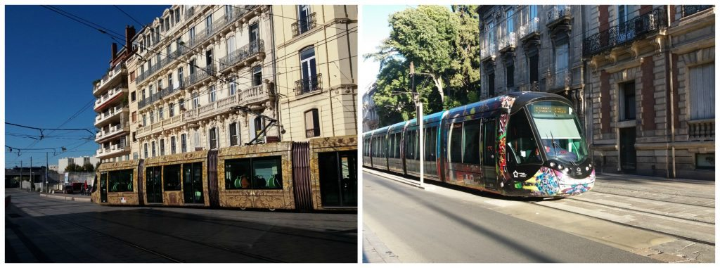 Colourful trams of Montpellier