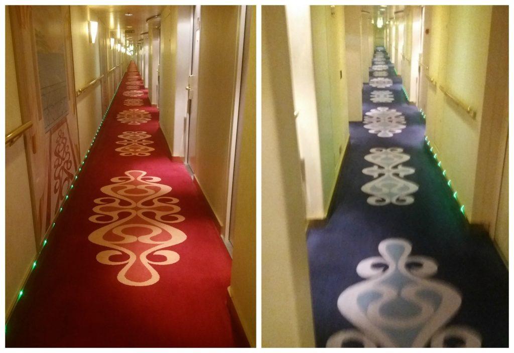 Corridors on deck 12 (left) & deck 10 MSC Poesia