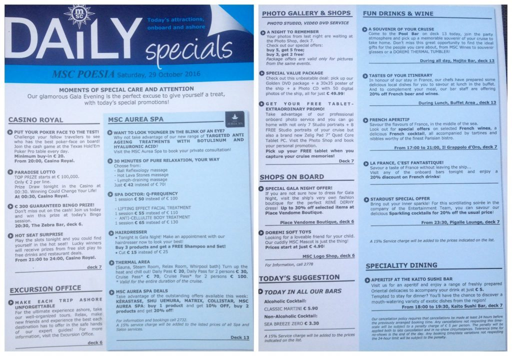 Daily specials for Marseille