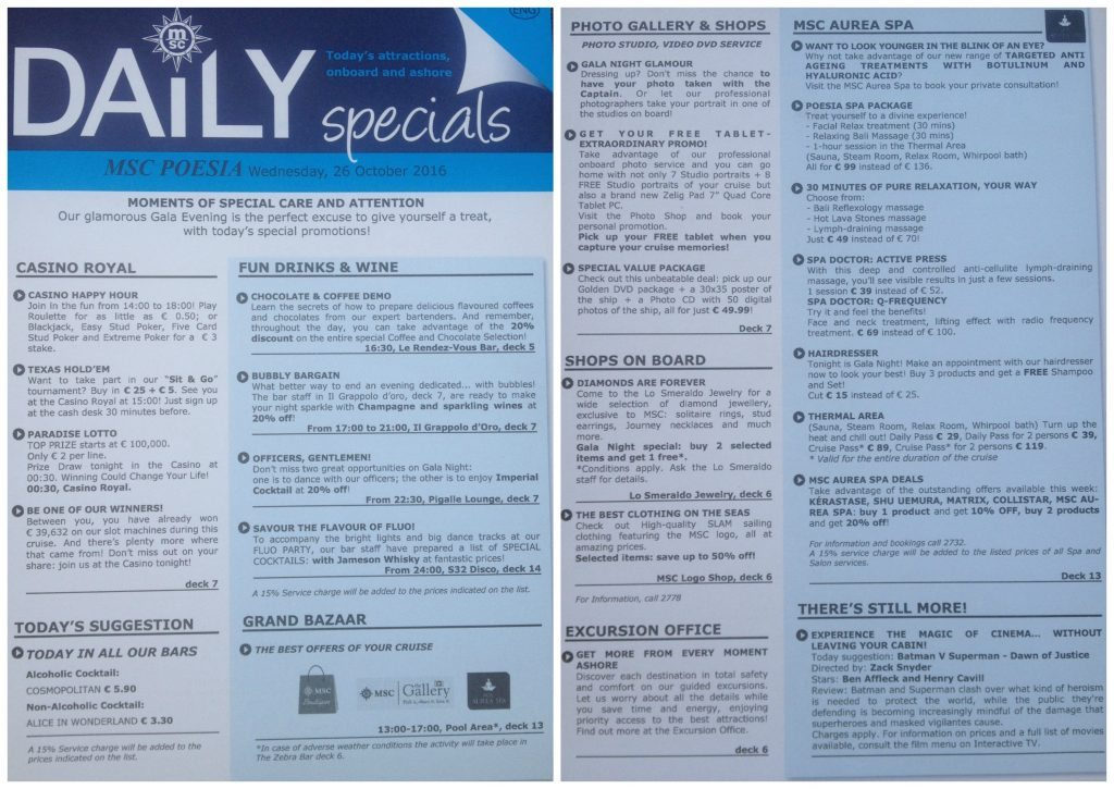 Daily specials for Valletta on MSC Poesia