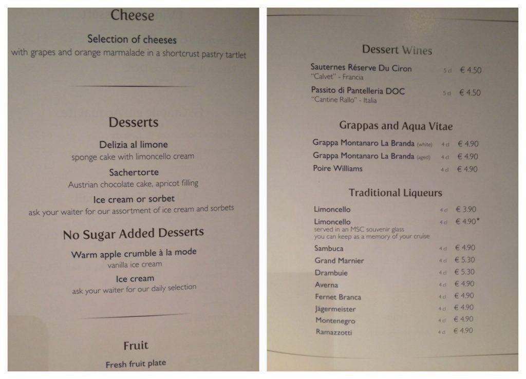 dessert menu on MSC Poesia