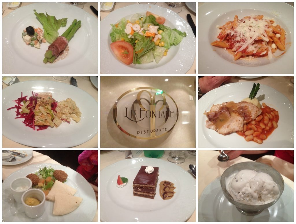 Dinner meals in Le Fontane on MSC Poesia