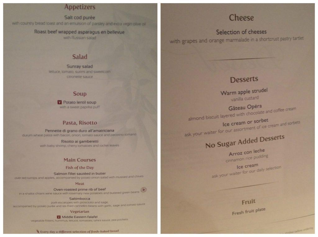 Dinner menu on MSC Poesia cruise