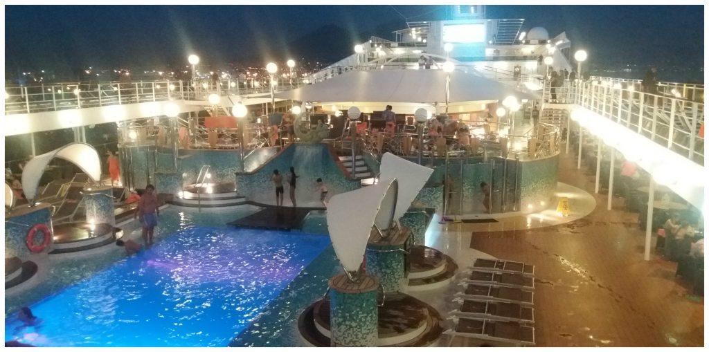 Evening pool deck on MSC Poesia