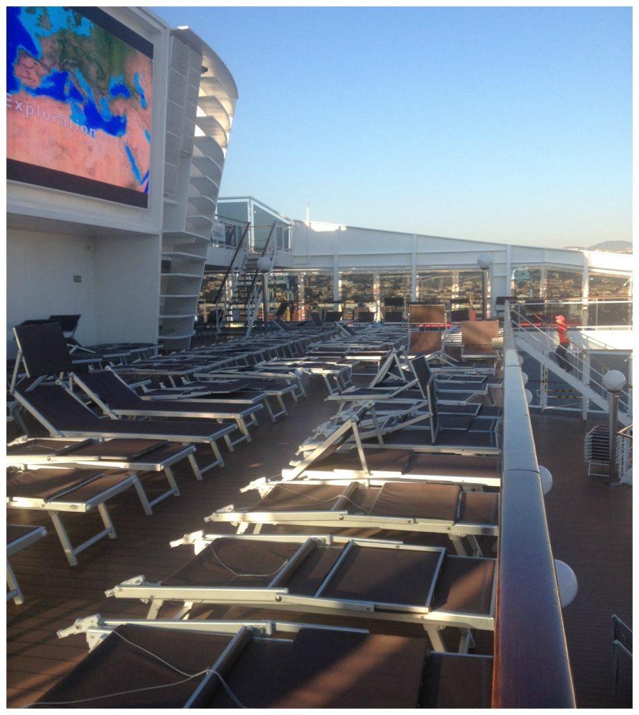 Giant screen & sun loungers deck 15 MSC Poesia