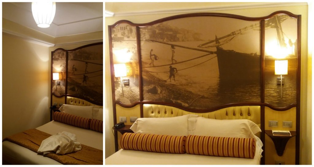 Huge king bed in Grand Hotel Savoia Genoa