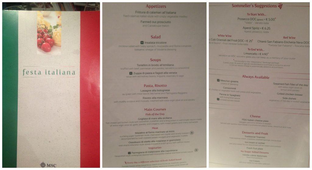 Italian theme dinner menu