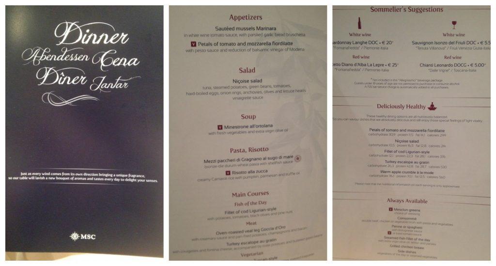 Le Fontane dinner menu