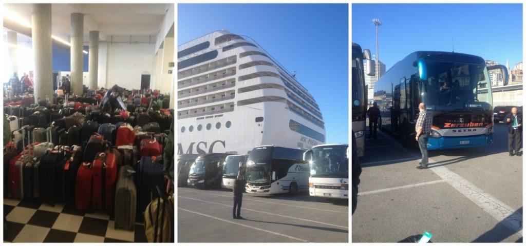 Luggage in the cruise terminal, MSC Poesia & the Zerzuben coach in Genoa