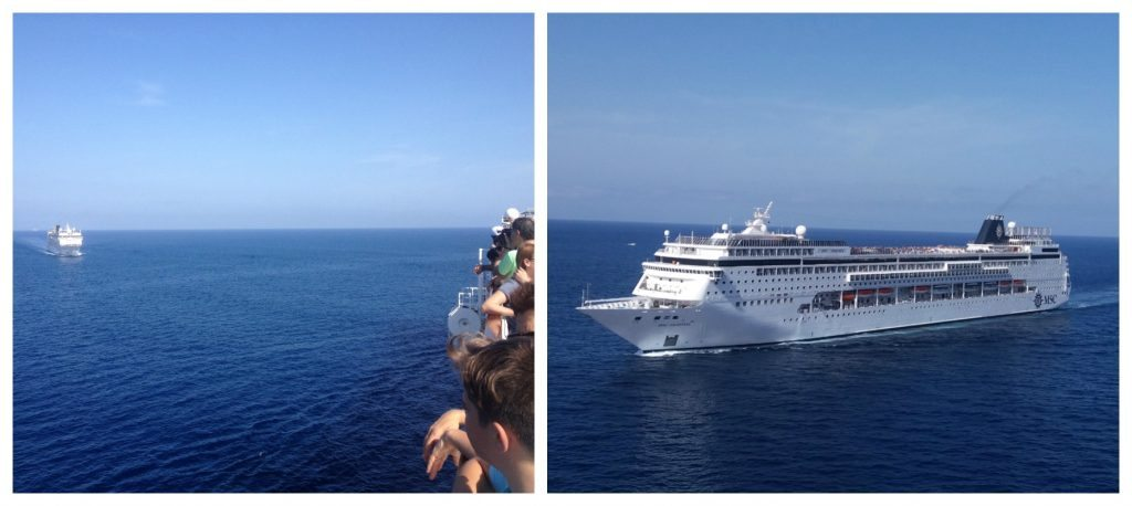 MSC Armonia approaching as we leave Valletta