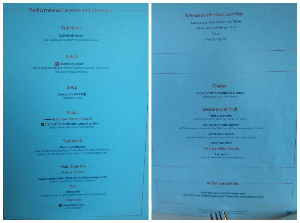 MSC Poesia dinning room lunch menu